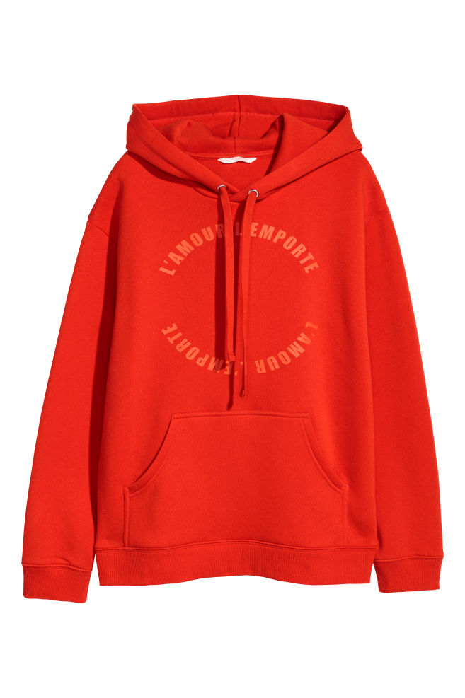 fe2341d33682 Printed hooded top - Red/L'amour - Ladies | H&M ...