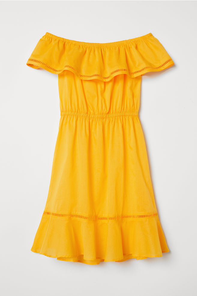 f08cddb76315 Off-the-shoulder dress - Yellow - | H&M ...