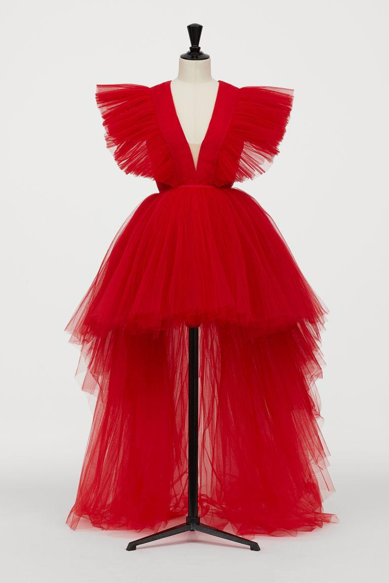 Lång tyllklänning - Röd - DAM | H&M SE