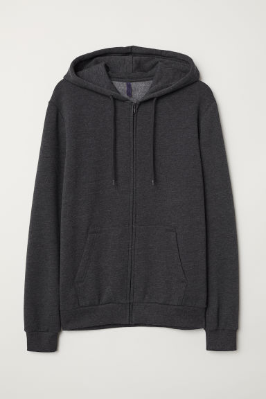 Hooded jacket - Dark grey marl - Men | H&M