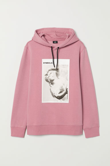 Printed hooded top - Vintage pink - Men | H&M
