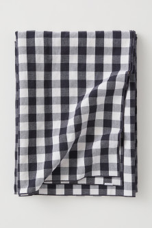 Checked linen-blend tablecloth