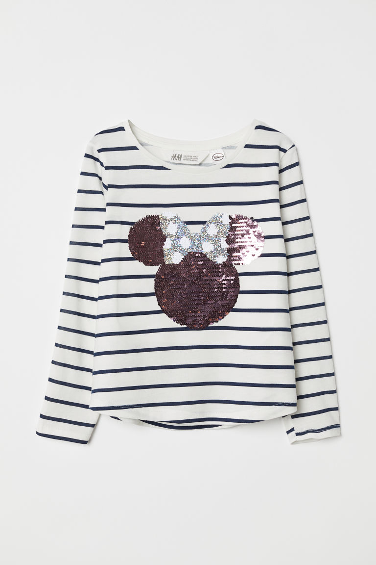 Top with reversible sequins - White/Minnie Mouse - Kids | H&M