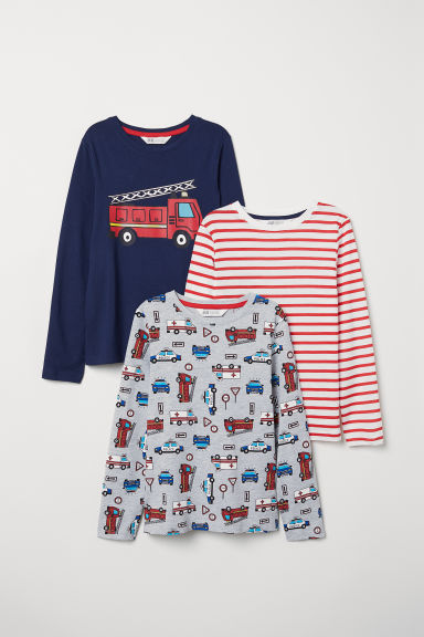 3-pack jersey tops - Dark blue/Emergency vehicles - Kids | H&M