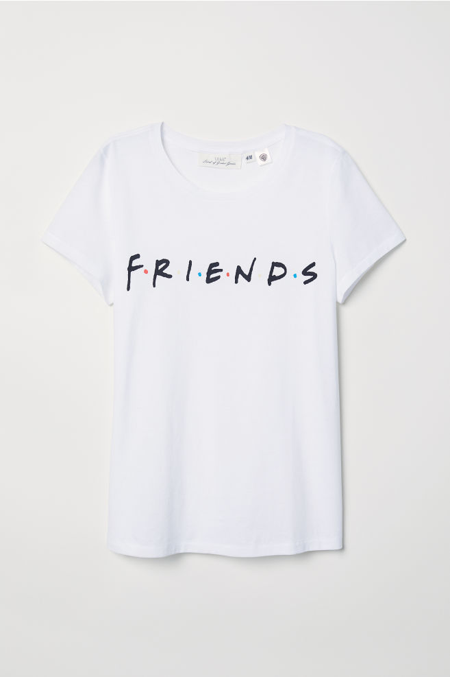 cd968ab23 T-shirt with Printed Text - White/Friends - Ladies | H&M ...