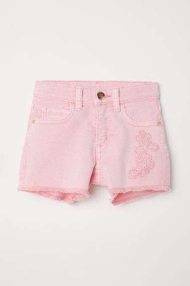 Twill shorts with appliqués - Pink - Kids | H&M CN