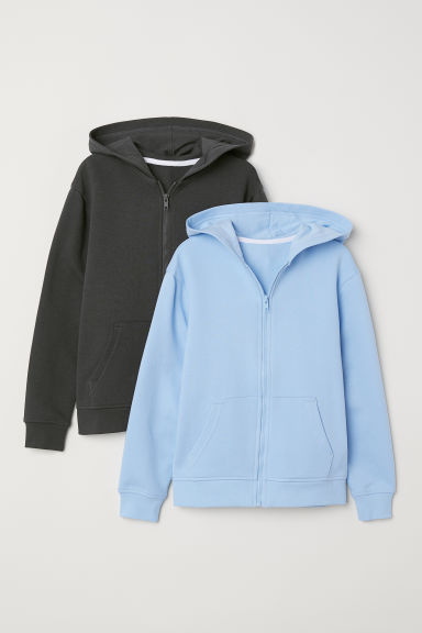 2-pack hooded jackets - Light blue/Dark grey - Kids | H&M