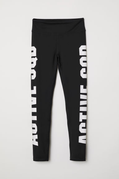 Sports tights - Black/Active Sqd - Kids | H&M