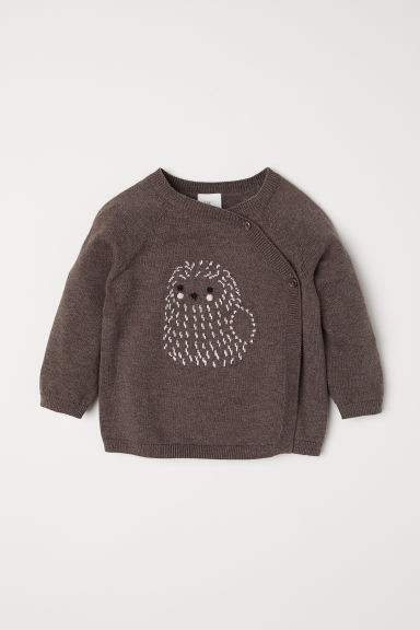 Jacquard-knit wrap cardigan - Brown - Kids | H&M CN
