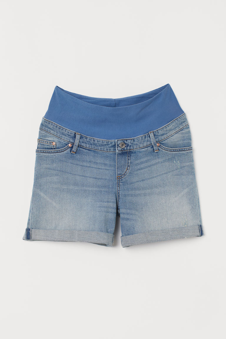 MAMA Denim shorts Boyfriend - Light blue denim - Ladies | H&M