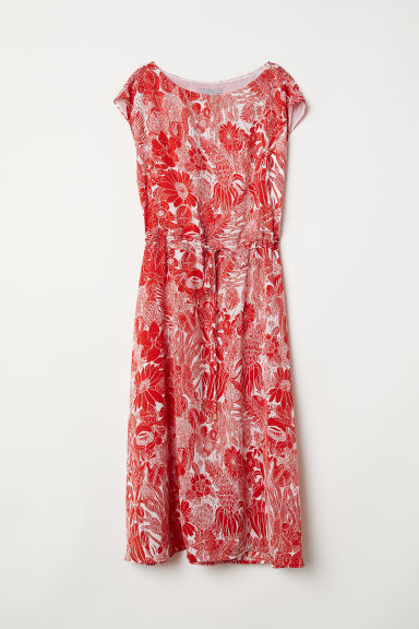 Sleeveless drawstring dress - White/Red patterned - Ladies | H&M