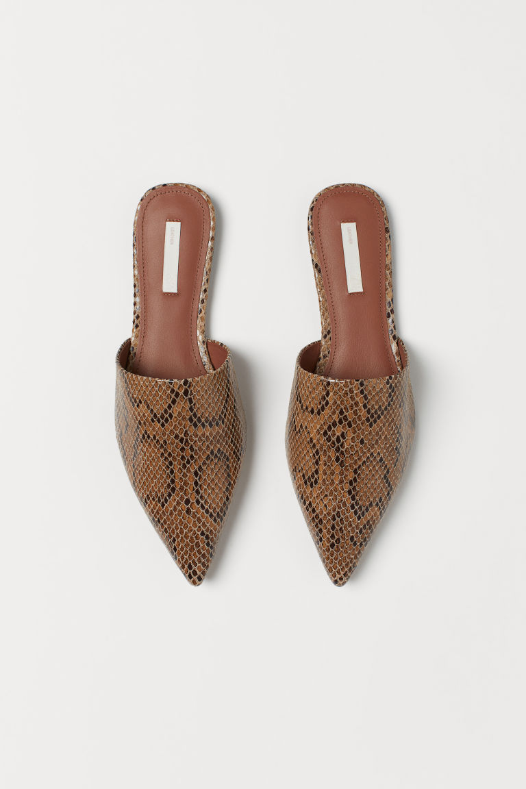 Mules - Brown/Snakeskin-patterned - Ladies | H&M GB