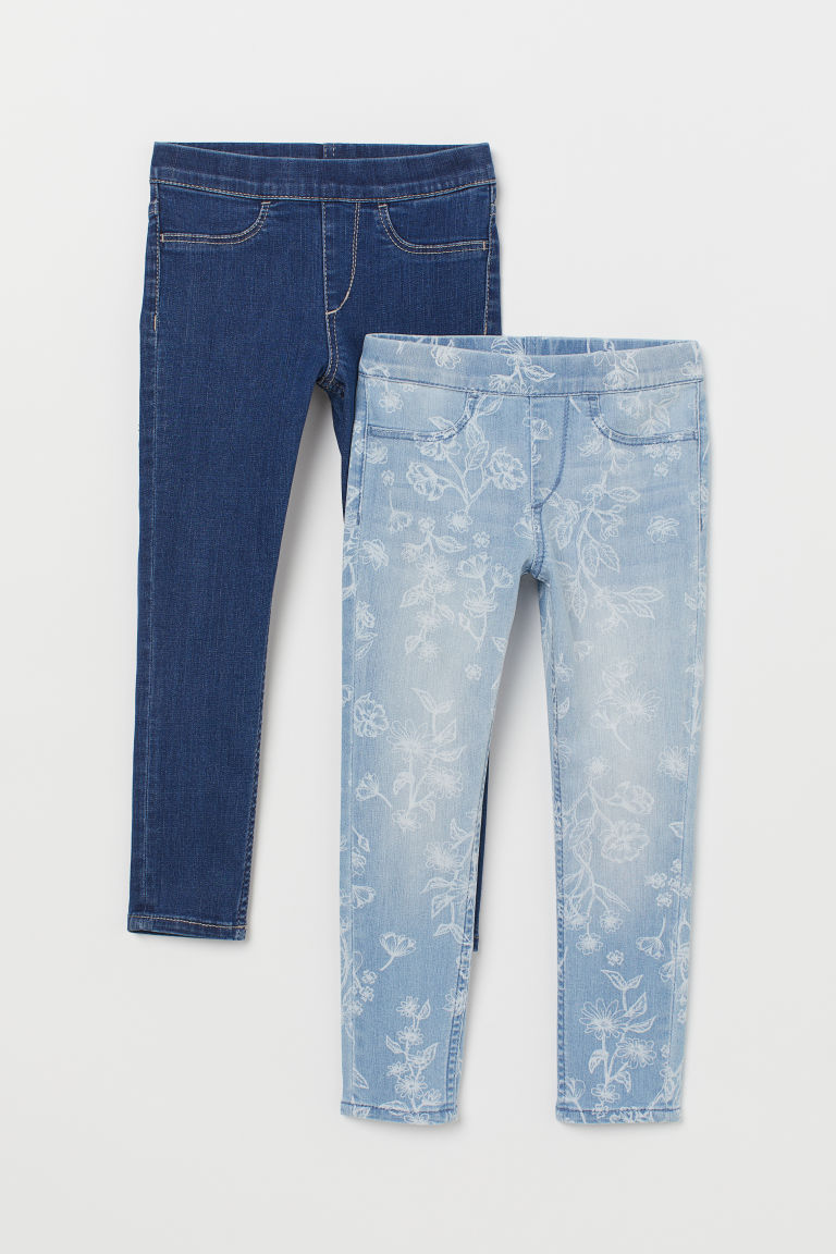 2er-Pack Denimleggings - Hellblau/Geblümt - KINDER | H&M CH