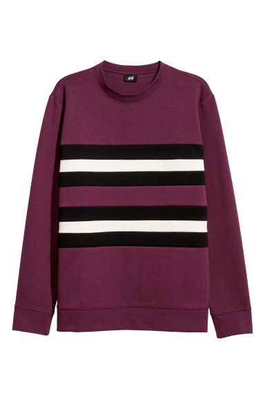 Block-striped sweatshirt - Plum/Multicoloured -  | H&M