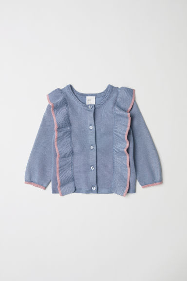 Cardigan with frills - Dusky blue - Kids | H&M CN