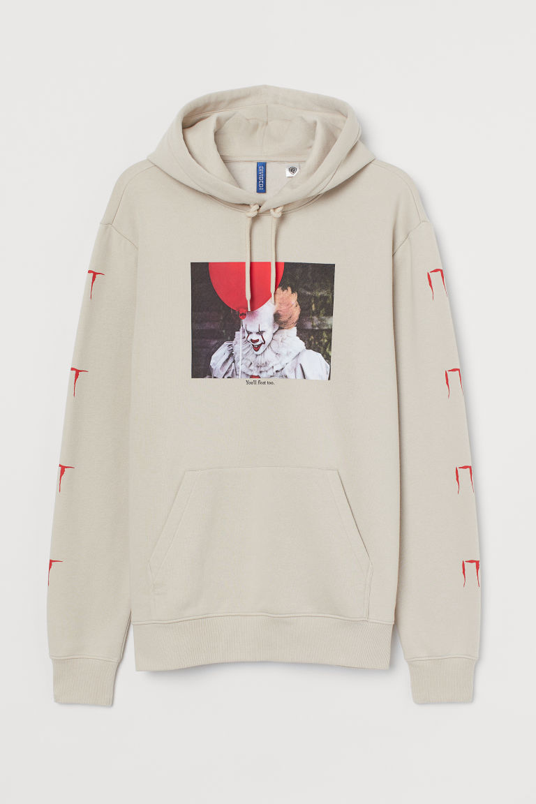 Printed hooded top - Light beige/It - Men | H&M