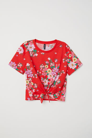 T-shirt with a tie - Red/Floral - Ladies | H&M