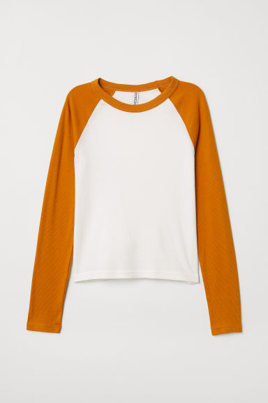 Fitted baseball top - Dark yellow - Ladies | H&M