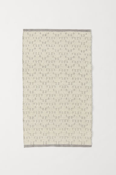 Jacquard-weave wool-blend rug - Light grey/Natural white - Home All | H&M CN