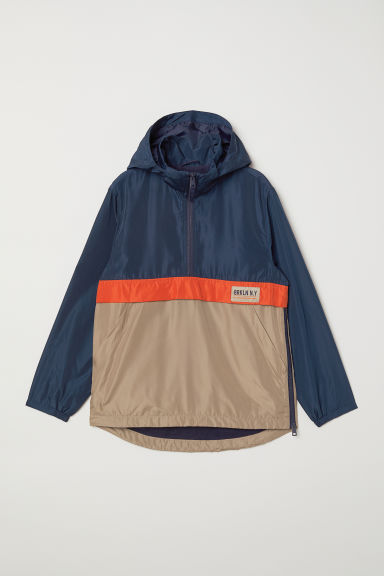 Fleece-lined popover jacket - Dark blue/Block-coloured - Kids | H&M