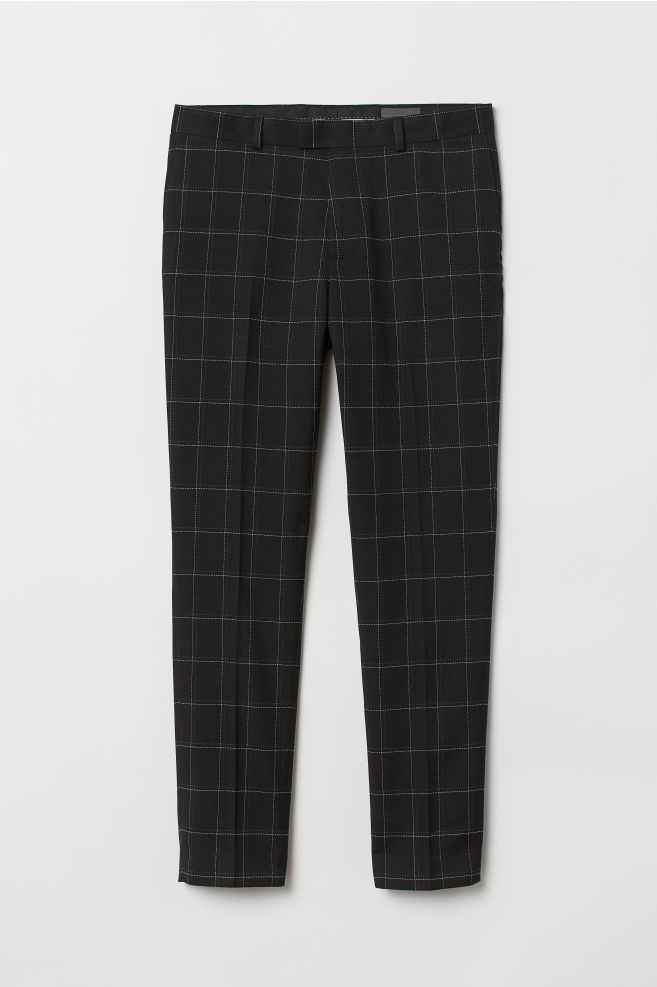 9d2a7ab760f4 Skinny Fit Checked Pants - Black - Men | H&M ...