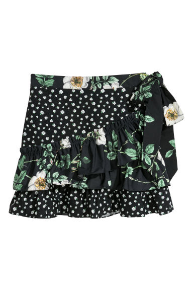 Flounced skirt - Black/Patterned -  | H&M