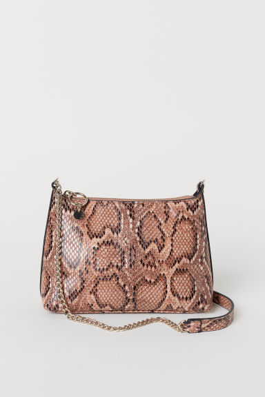 Shoulder bag - Beige/Snakeskin-patterned - Ladies | H&M CN