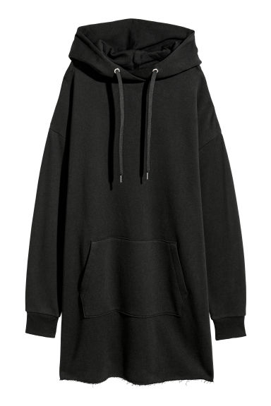 Hooded sweatshirt dress - Black - Ladies | H&M CN
