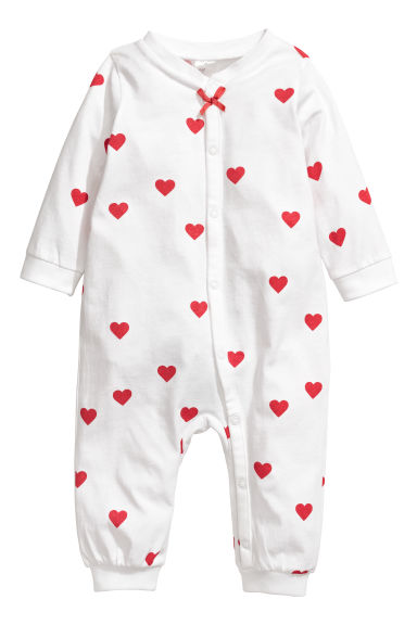 Printed all-in-one pyjamas - White/Hearts -  | H&M