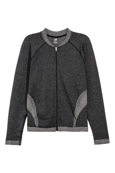 Seamless sports jacket - Dark grey marl - Ladies | H&M IE