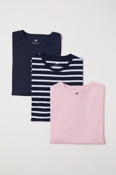 3-pack T-shirts Regular fit - Dark blue/Striped - Men | H&M CN