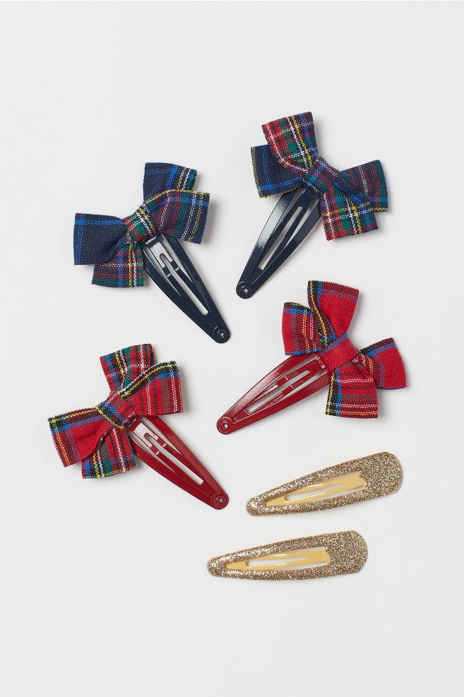 6-pack hårspänne - Mörkblå/Rödrutig - BARN | H&M SE 1