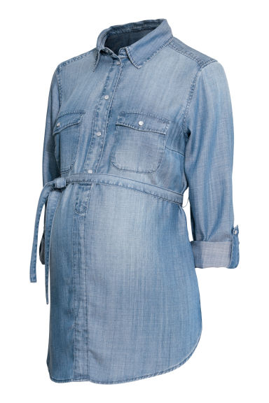 MAMA Lyocell shirt - Denim blue - Ladies | H&M GB