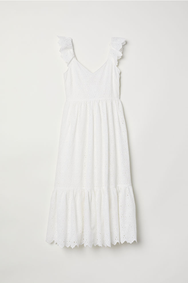 ced19593a462b Embroidered dress - White - Ladies | H&M ...