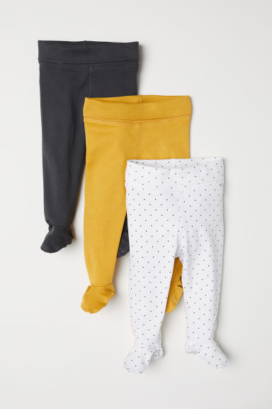 3-pack trousers with feet - Mustard yellow/Spotted - Kids | H&M