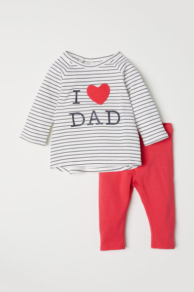 Top and leggings - White/Striped - Kids | H&M CN