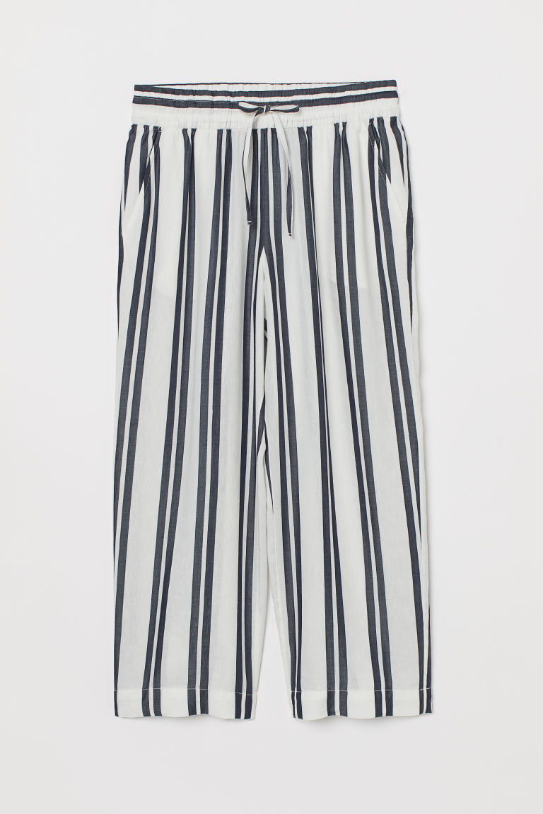 Linen-blend culottes - White/Dark blue striped - Ladies | H&M CN