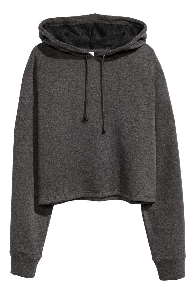 6f31bf029b1 Cropped hooded top - Dark grey marl - | H&M ...