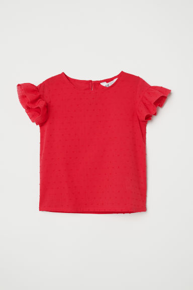 Frill-trimmed blouse - Red -  | H&M