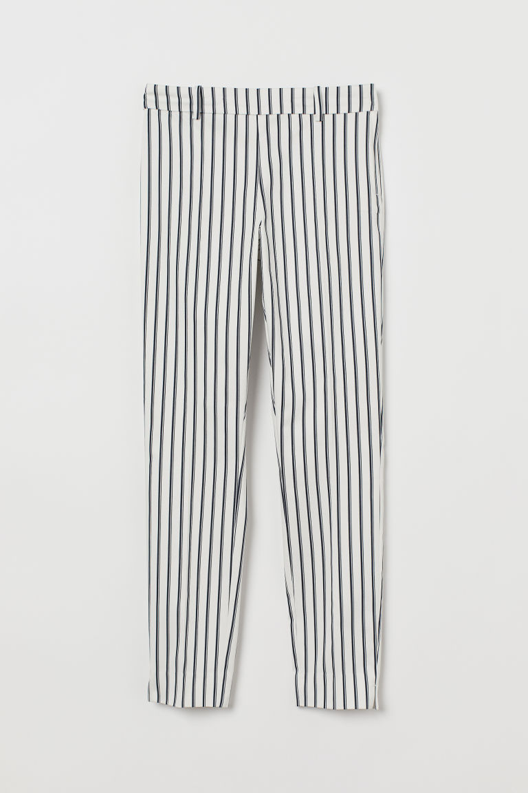 Cigarette trousers - Dark blue/White striped - Ladies | H&M CN