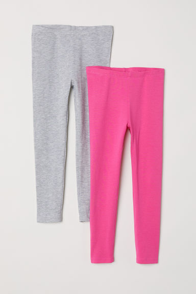 2-pack leggings - Grey marl/Pink - Kids | H&M CN