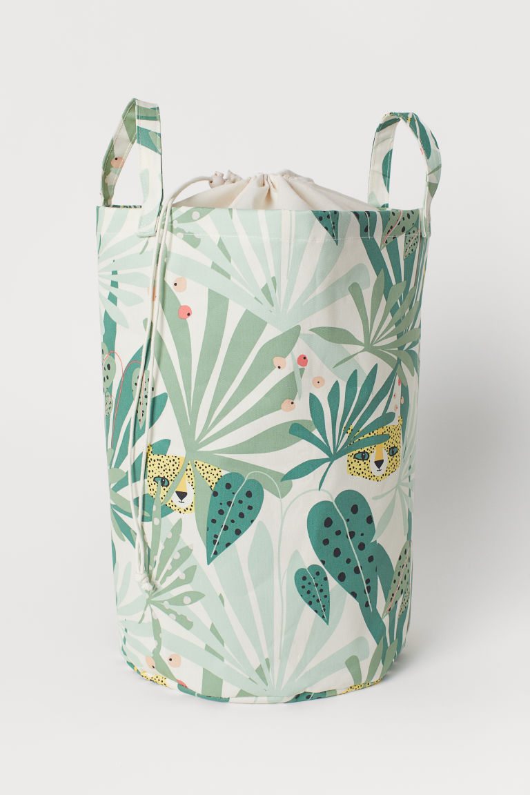 Cesto portaoggetti con stampa - Light green/Leaf-patterned - HOME | H&M IT