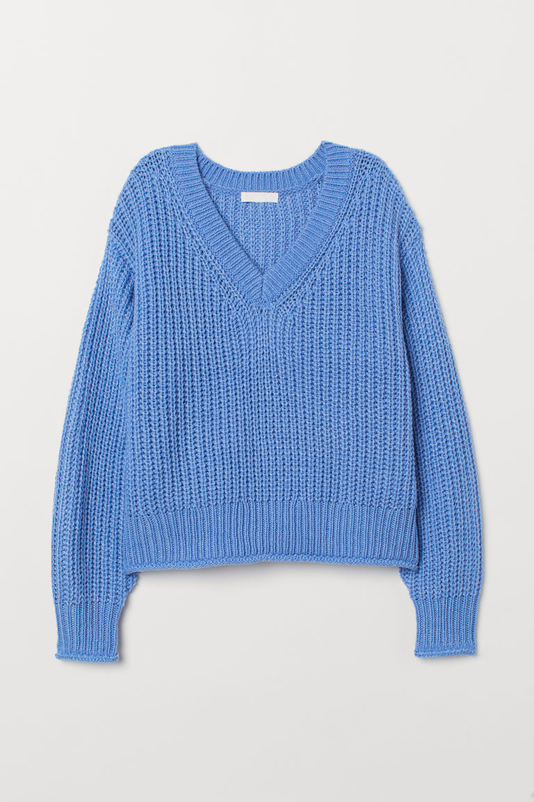 Knitted jumper - Blue - Ladies | H&M CN