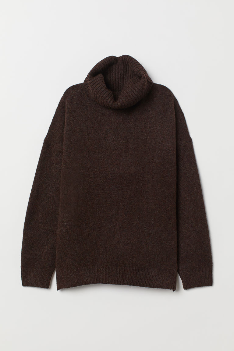 Knit Turtleneck Sweater - Dark brown melange -  | H&M US