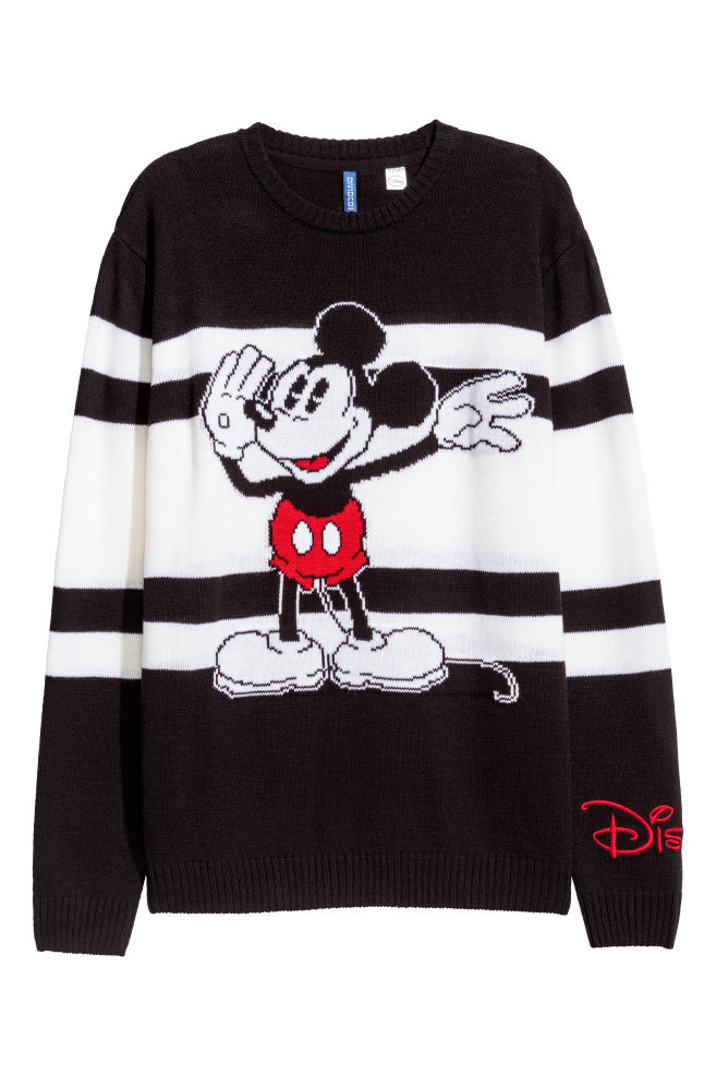 da32b5cf Jacquard-knit jumper - Black/Mickey Mouse - Men | H&M GB 1