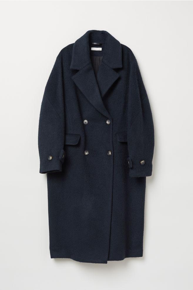 44b9bc3f98757 Cappotto doppio petto in lana - Blu scuro - DONNA