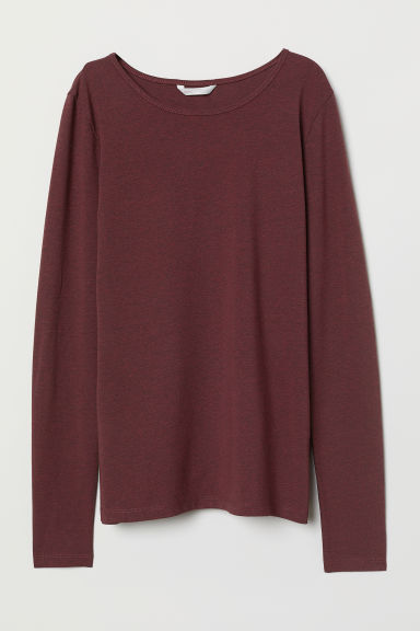 Top jersey a maniche lunghe - Bordeaux mélange - DONNA | H&M IT