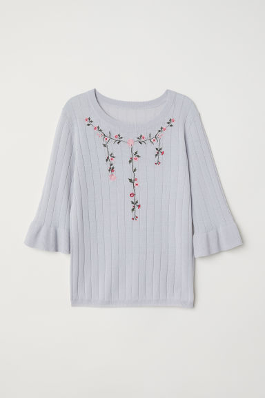Jumper with embroidery - Light grey-blue/Flowers -  | H&M CN