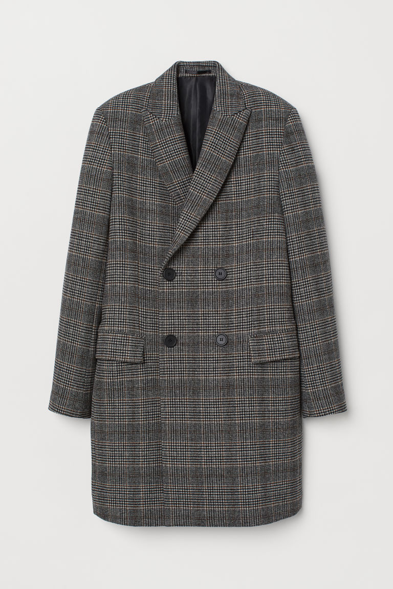 Double-breasted wool-mix coat - Black/Dogtooth-patterned - Men | H&M