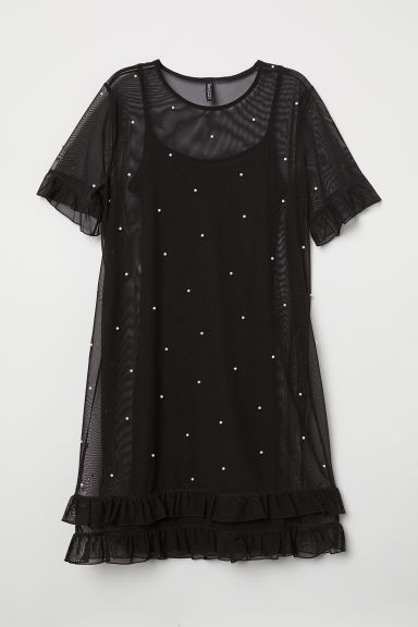 Mesh dress with beads - Black -  | H&M IE